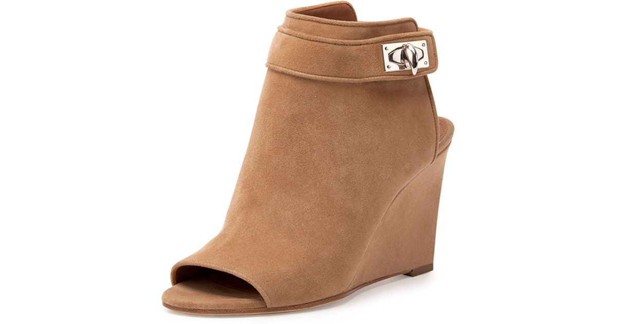Givenchy Suede Shark-Lock Peep-Toe Wedge Bootie in Brown - Lyst 38661fb52777