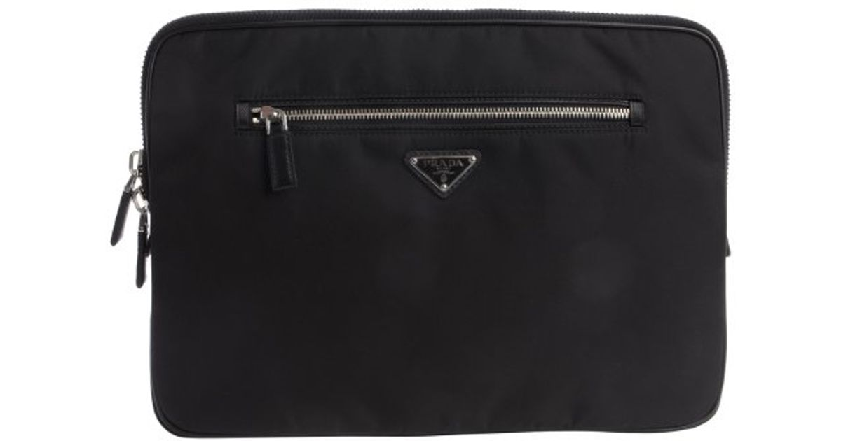 Prada Black Nylon Laptop Case in Black for Men | Lyst