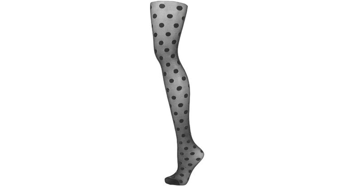 3c9307e0869 Lyst - TOPSHOP Glitter Polka Dot Tights in Black