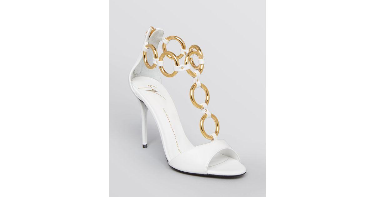 80f301d6813e ... norway lyst giuseppe zanotti chain t strap sandals coline high heel in  white 15da2 ad072