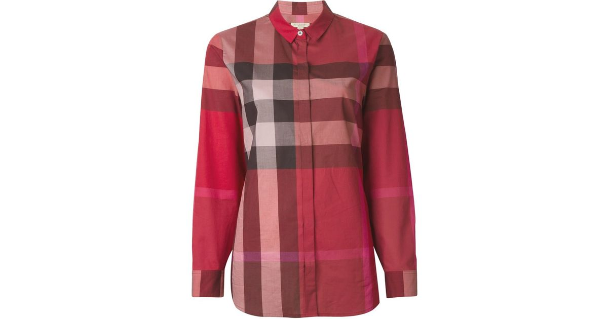 Burberry brit checked shirt in red save 21 lyst for Burberry brit checked shirt