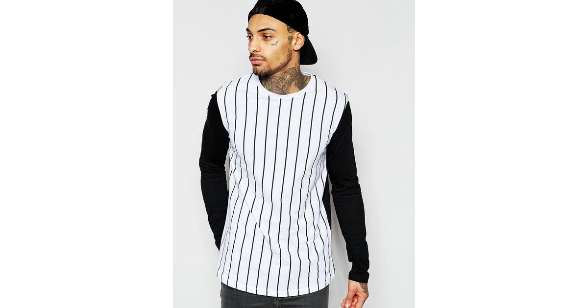 Asos Longline Long Sleeve T-shirt With Vertical Stripe And ...