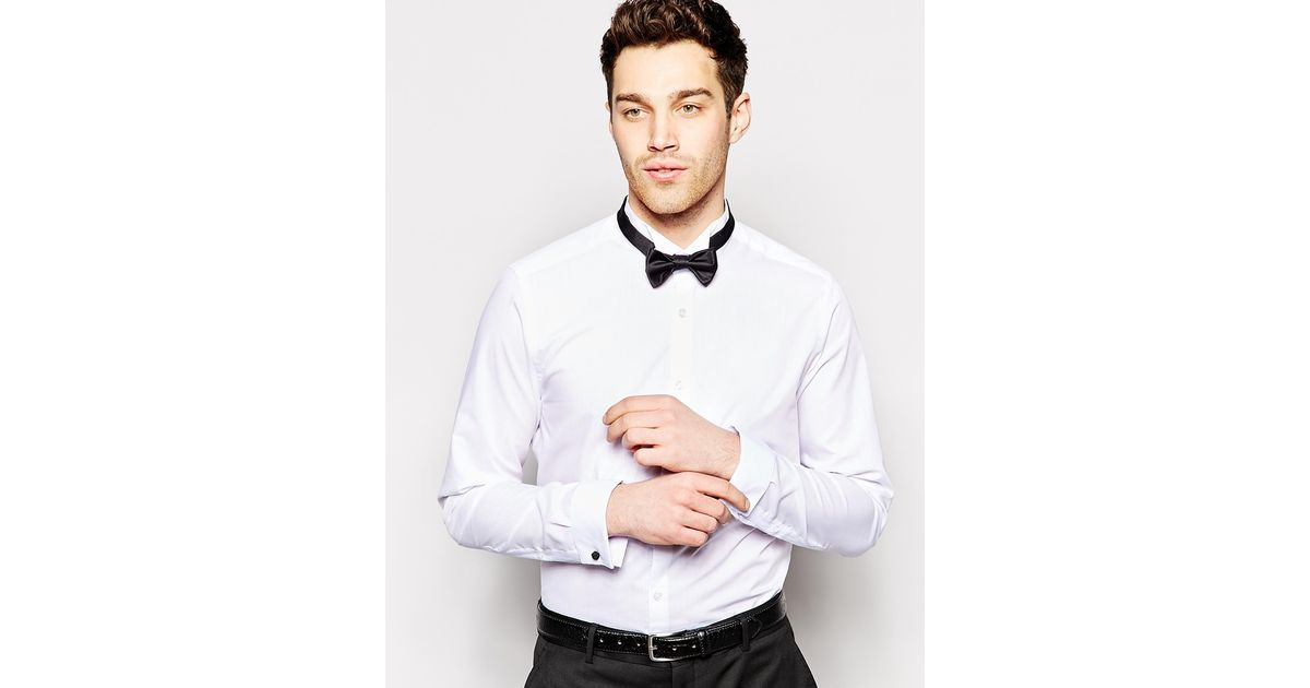 Lyst Asos Smart Tux Shirt With Textured Wing Collar And Bow Tie