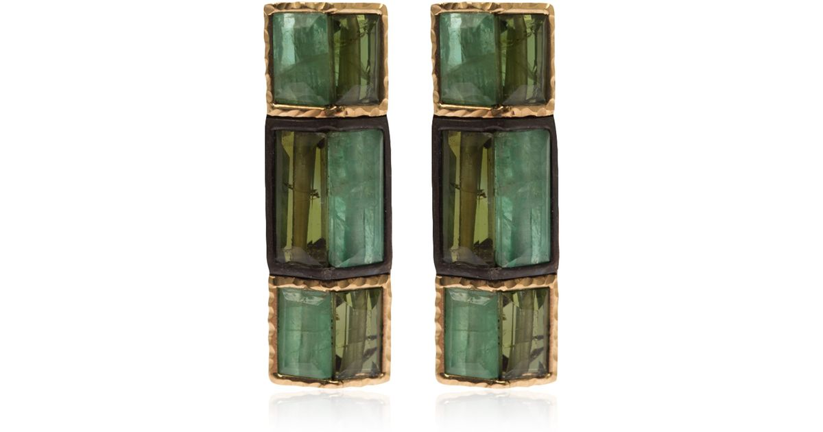 Lyst Nak Armstrong Gold And Silver Emerald Green Tourmaline Earrings In
