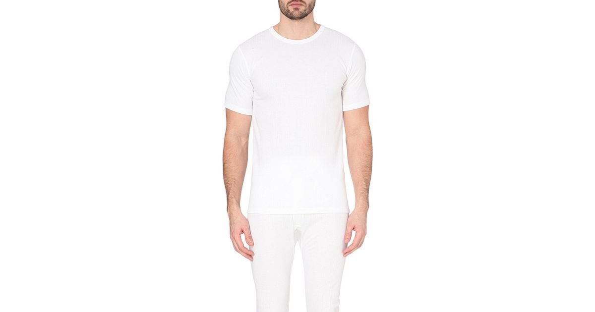 Sunspel thermal t shirt in white for men lyst for White thermal t shirt
