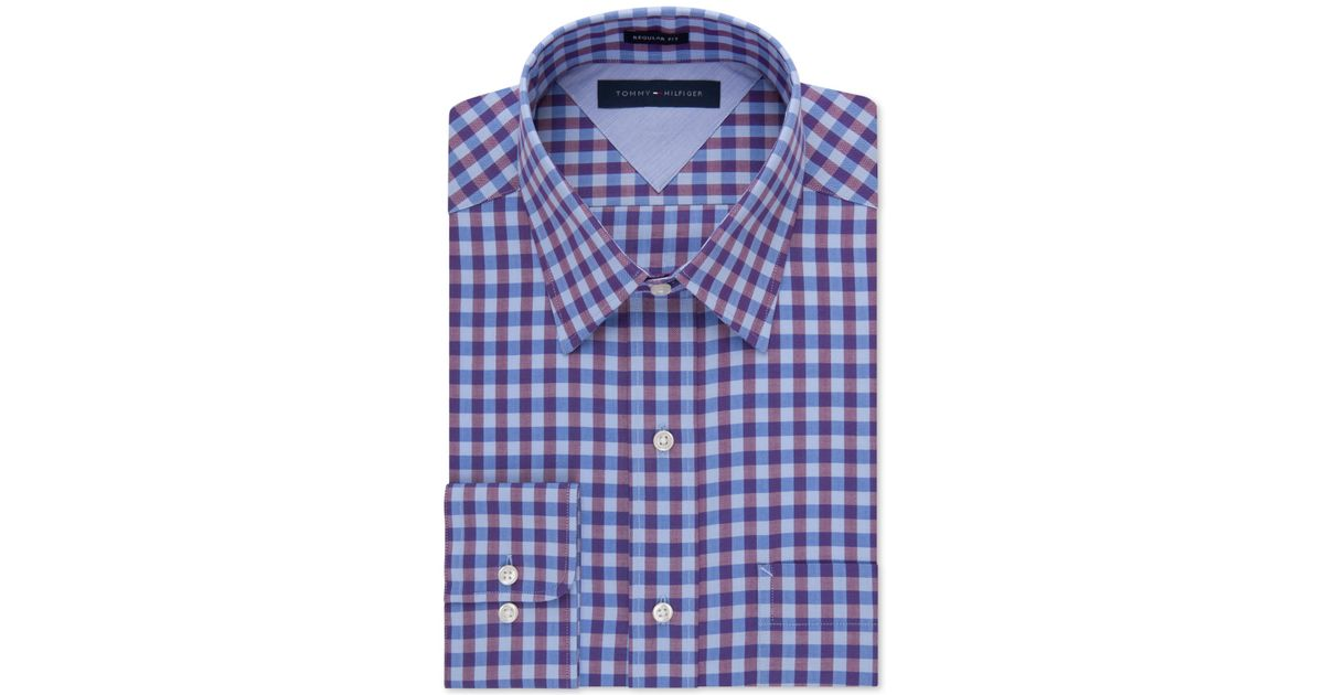 Lyst tommy hilfiger easy care purple gingham dress shirt for Tommy hilfiger gingham dress shirt