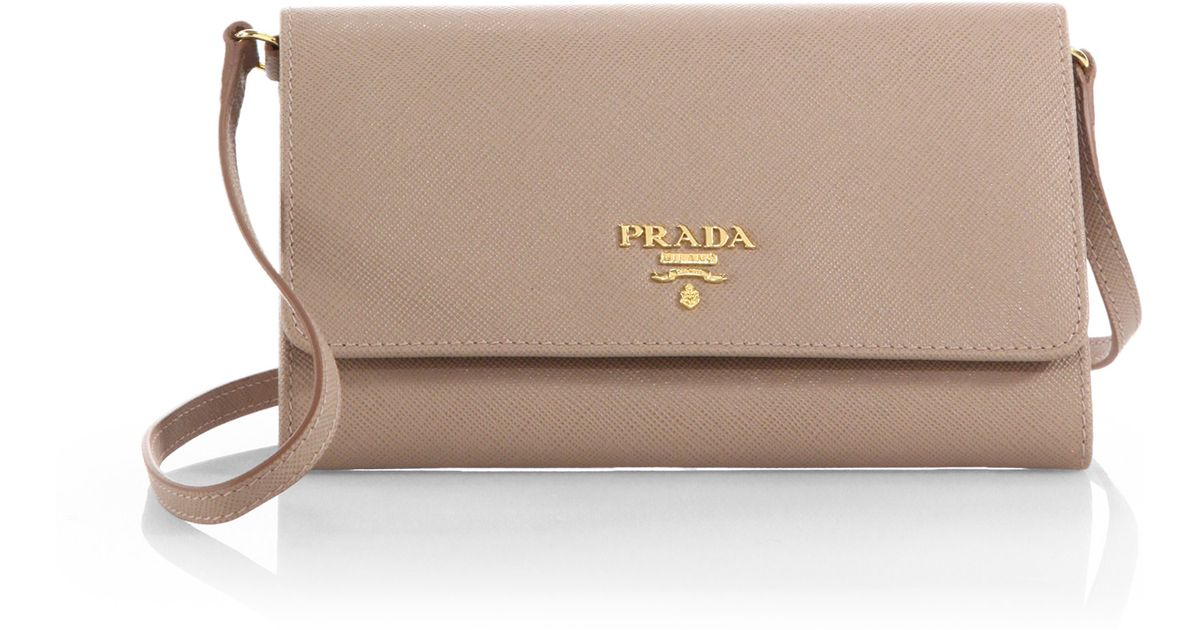 595ec529c5e9 Prada Saffiano Mini Crossbody Bag in Natural - Lyst