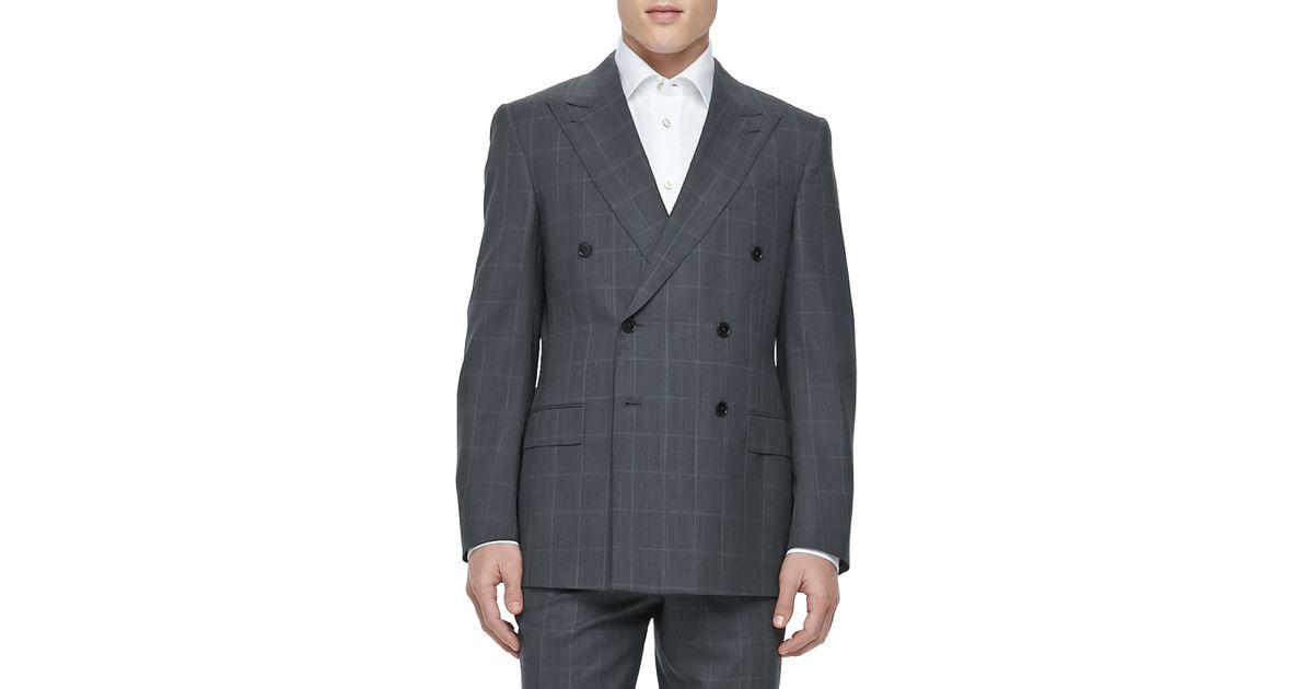 Ermenegildo zegna Double-Breasted Windowpane Suit in Gray for Men ...