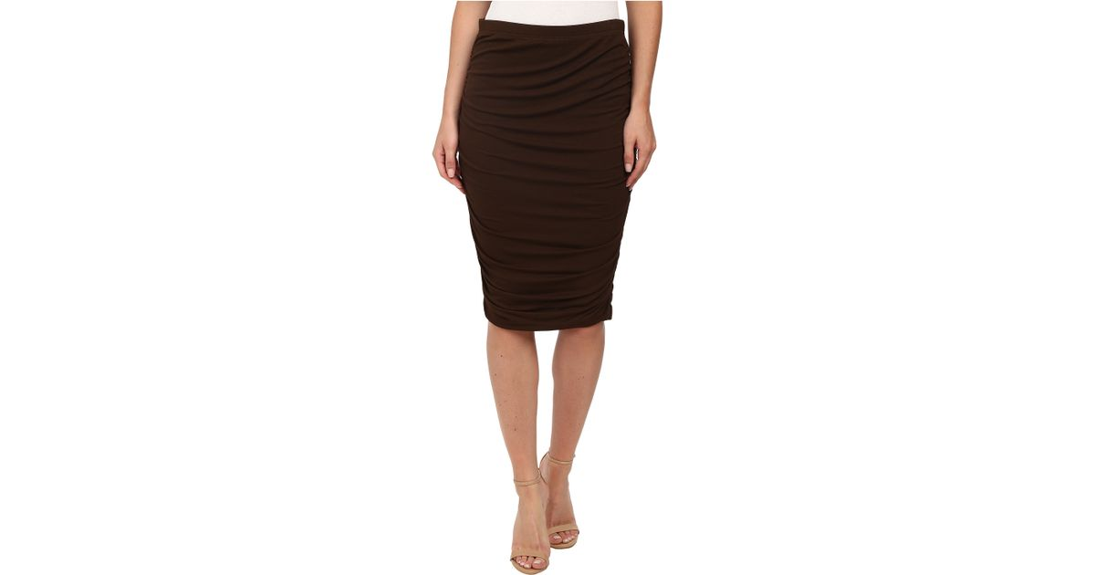 a2e21d95bbc020 Vince Camuto Ruched Midi Tube Skirt in Brown - Lyst
