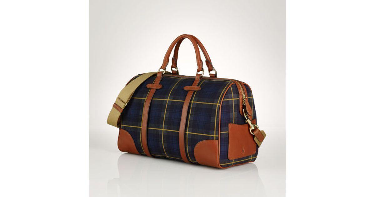Lyst - Polo Ralph Lauren Large Tartan Duffel Bag in Green 3885e2d885fe2
