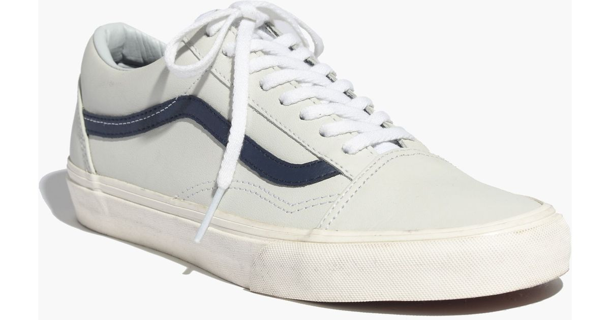 Lyst - Madewell Vans® Old Skool Lace-Up Sneakers In Leather in White 6198227d3