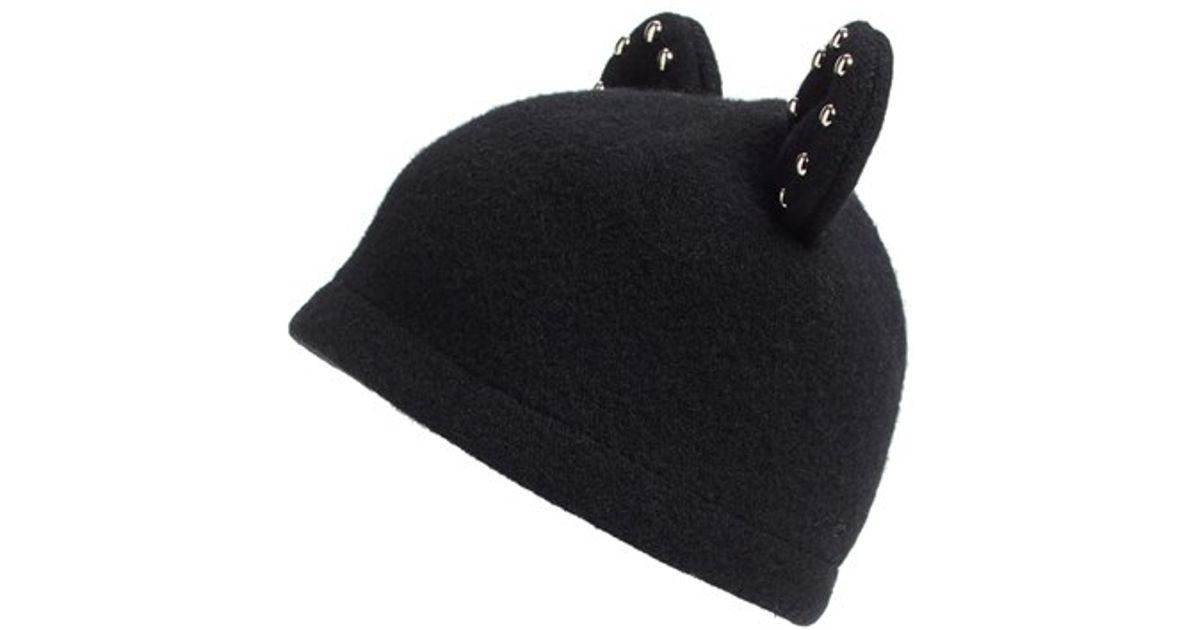 9833a1bc78f07 Lyst - Helene Berman Studded Ears Wool Blend Cap in Black