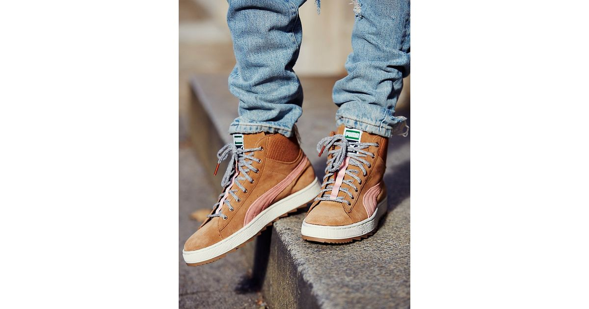 Lyst - Free People Puma Womens Suede Winterized High Tops in Brown 665604d2d