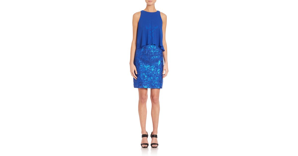 Aidan mattox Popover Sequined Dress in Blue | Lyst