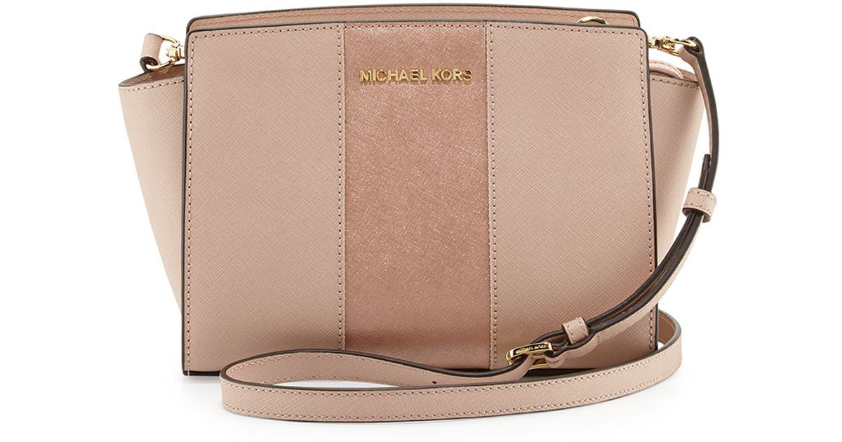 13bbdd88f93e Lyst - MICHAEL Michael Kors Selma Medium Center-Stripe Leather Bag in Pink