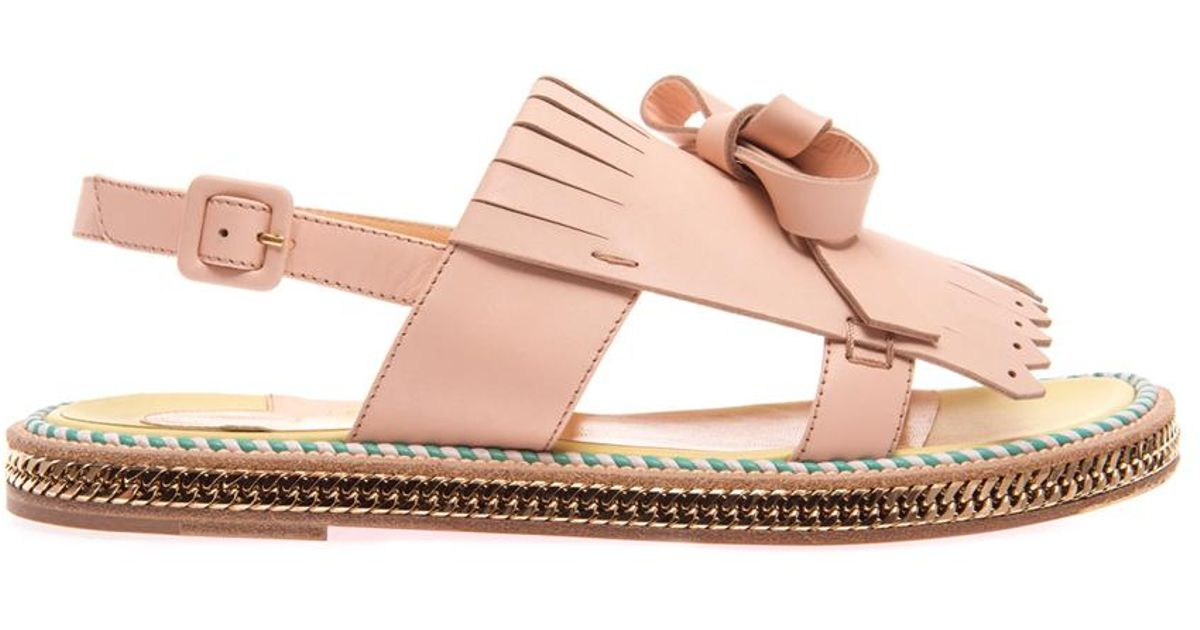 lyst christian louboutin costa nada fringefront sandals in pink rh lyst com