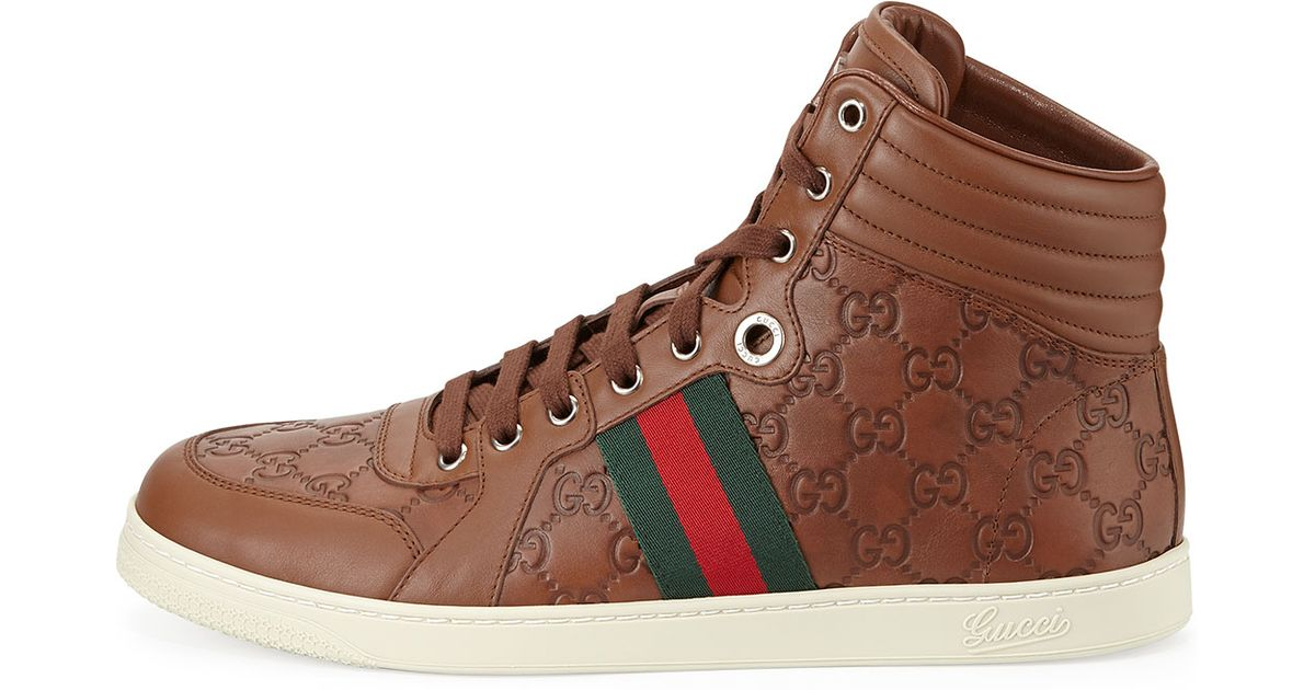 Leather high-top sneakers Gucci 6SFaC3