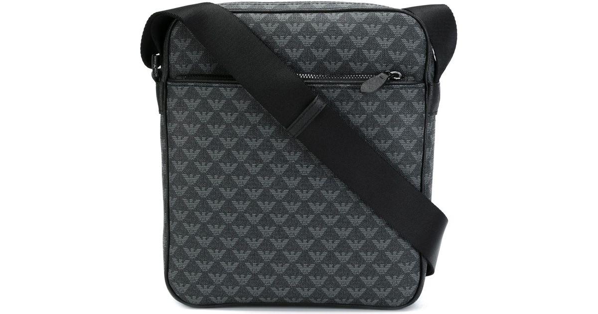 94f56af615 Lyst - Emporio Armani Logo Print Messenger Bag in Black for Men