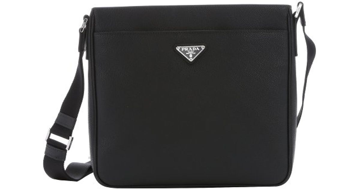 prada suede handbag - Prada Black Saffiano Leather Messenger Bag in Black for Men | Lyst
