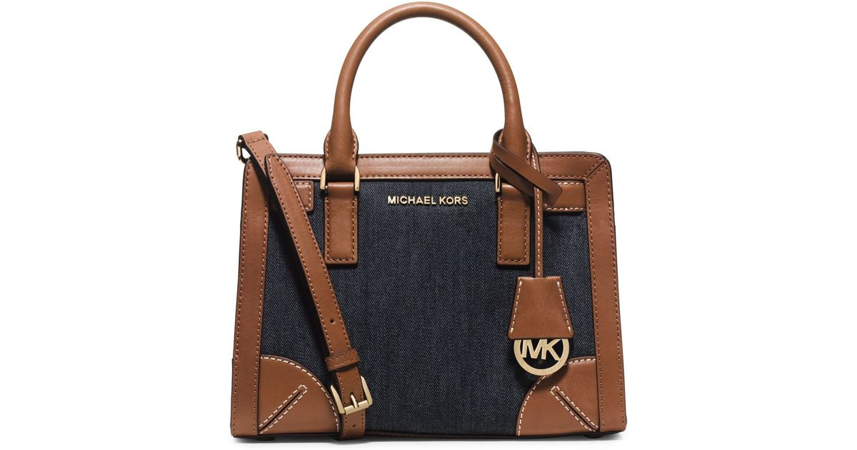 Lyst - Michael Kors Dillon Small Denim Satchel in Blue bea4116aa8
