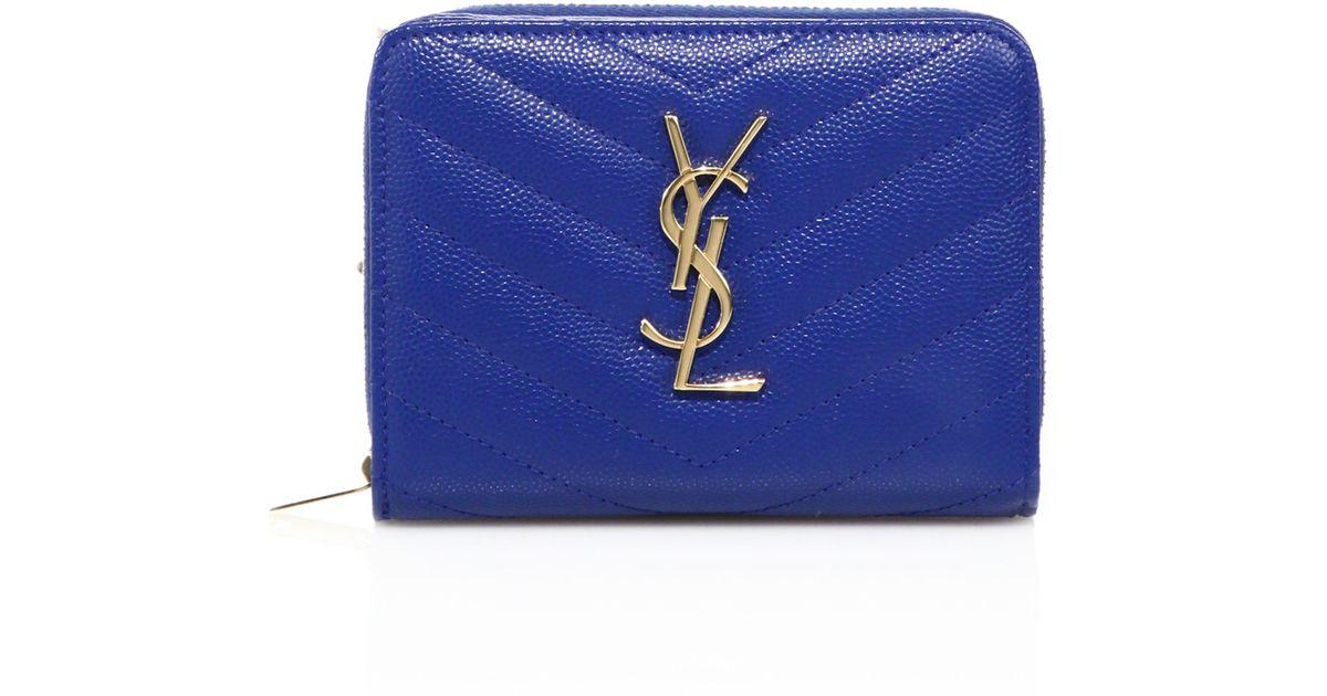 Saint laurent Monogram Grained Leather Compact Zip-around Wallet ...