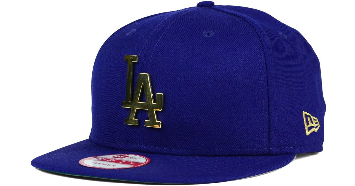 detailed look a9f79 dfafc KTZ Los Angeles Dodgers League O gold 9fifty Snapback Cap in Blue for Men -  Lyst