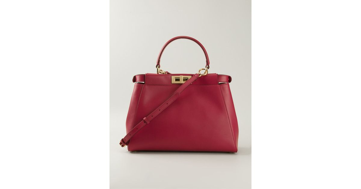 19d7055fdd Lyst - Fendi Large  Peekaboo  Tote in Red