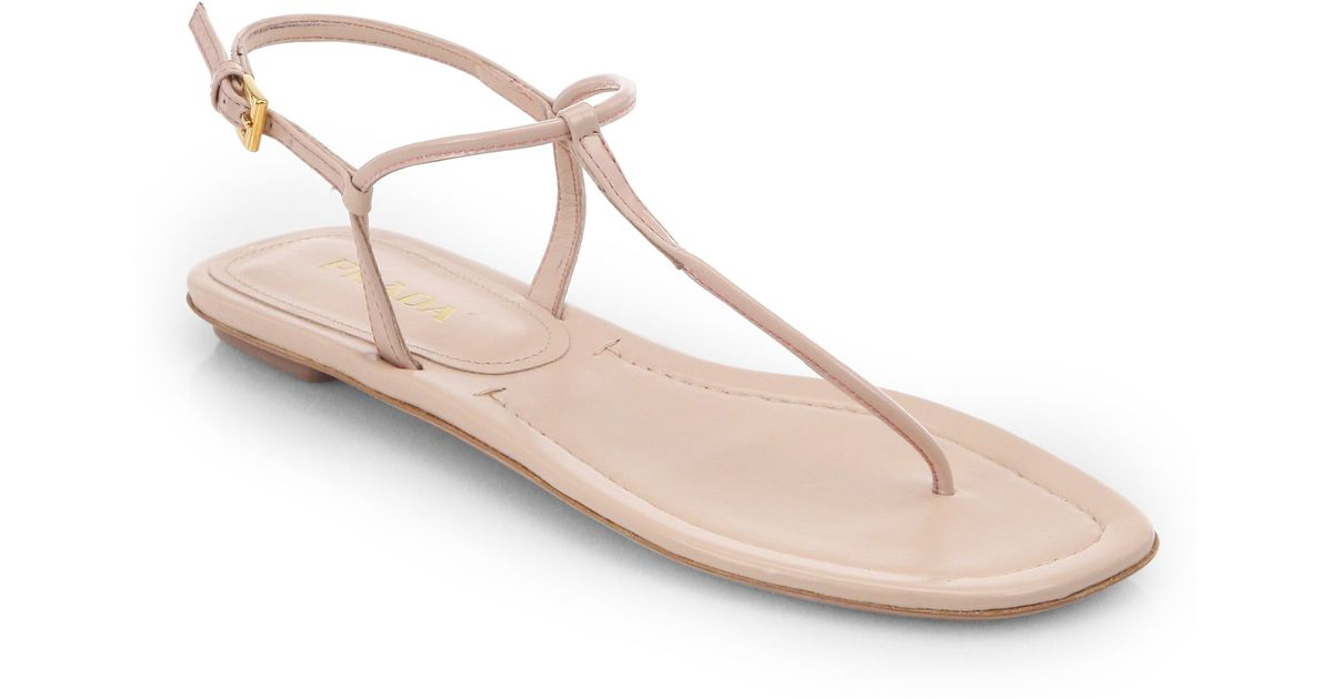 e14187fed Lyst - Prada Patent Leather Thong Sandals in Pink