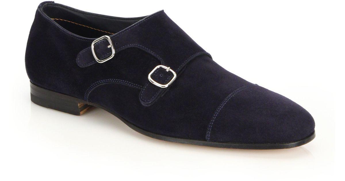 8db9b76c2279 Lyst - Santoni Suede Double Monk-strap Shoes in Blue for Men