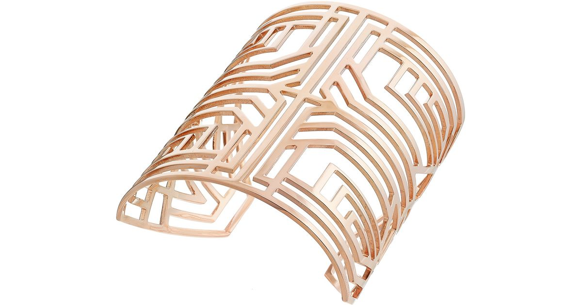 Amanda wakeley deco rose gold square bangle in pink rose for Deco maison rose gold