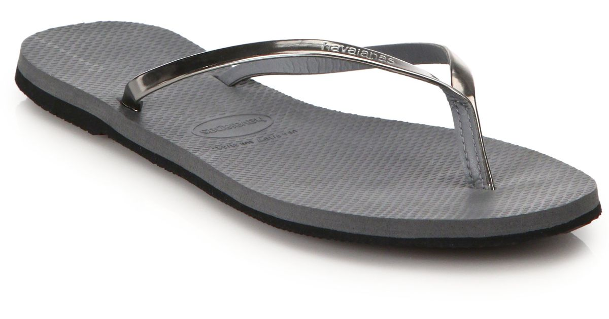 Havaianas You Metallic Flip Flops In Gray  Lyst-7492