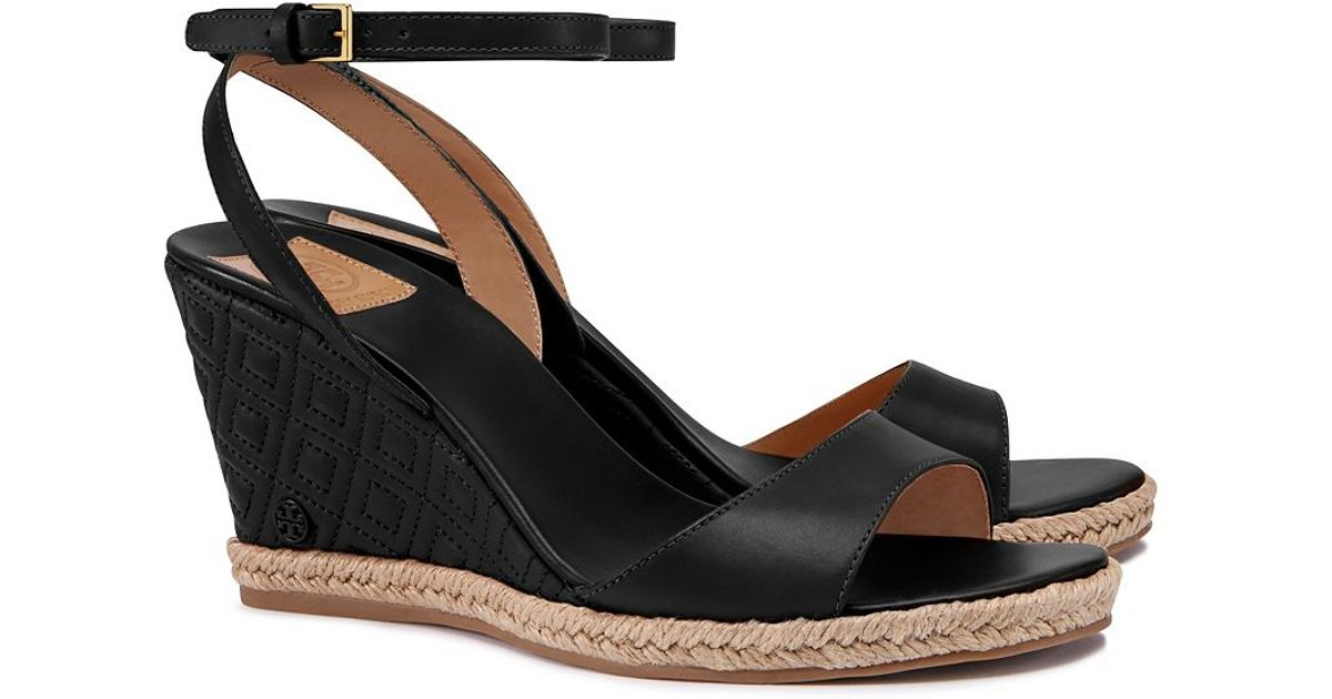 443727ab9 Tory Burch Marion Quilted Espadrille Wedge Sandal In Black Lyst