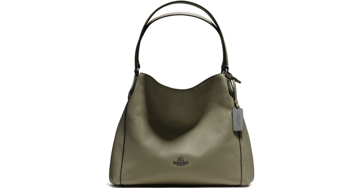 ... best price lyst coach edie pebbled leather shoulder bag in green eea7f  113c8 ... e17439c504e5a