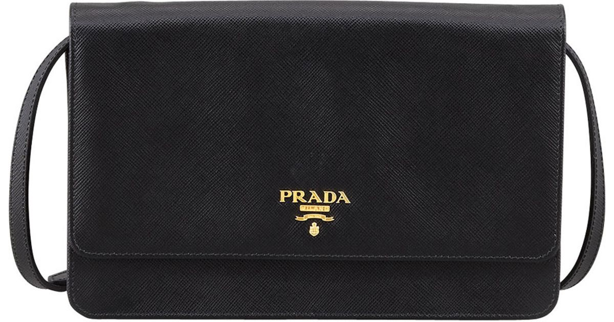 29be2678557d ... wholesale lyst prada saffiano wallet crossbody in black 64f2c 25b55
