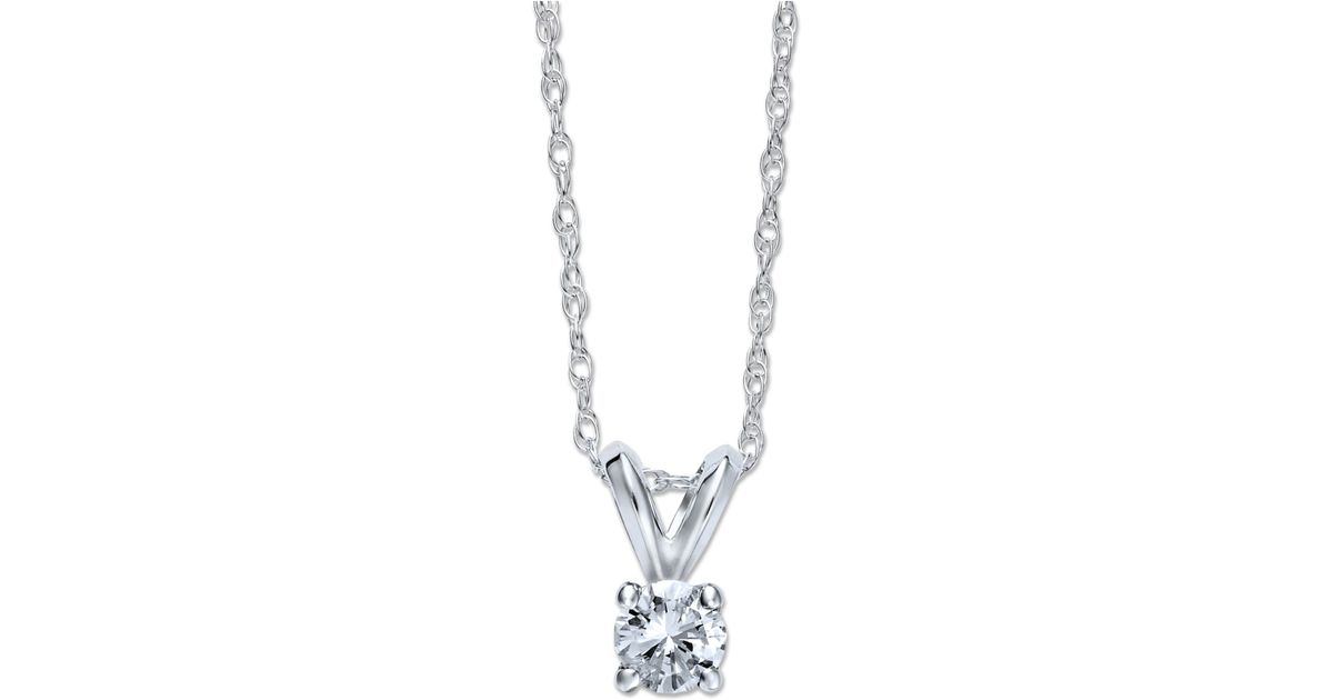 Macy S Round Cut Diamond Pendant Necklace In 10k White Or Yellow Gold 1 4 Ct T W In Metallic