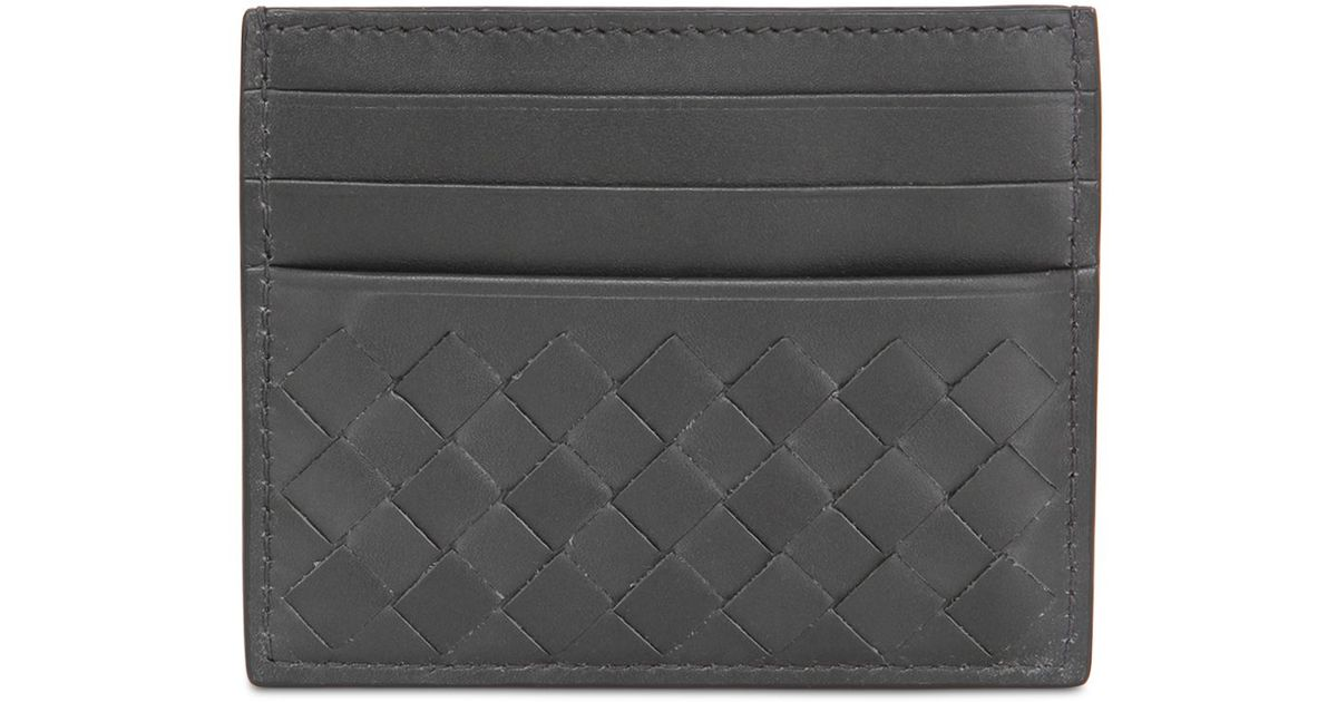 f80313fdf6287 Bottega Veneta Increcciato Leather Card Holder in Gray for Men - Lyst