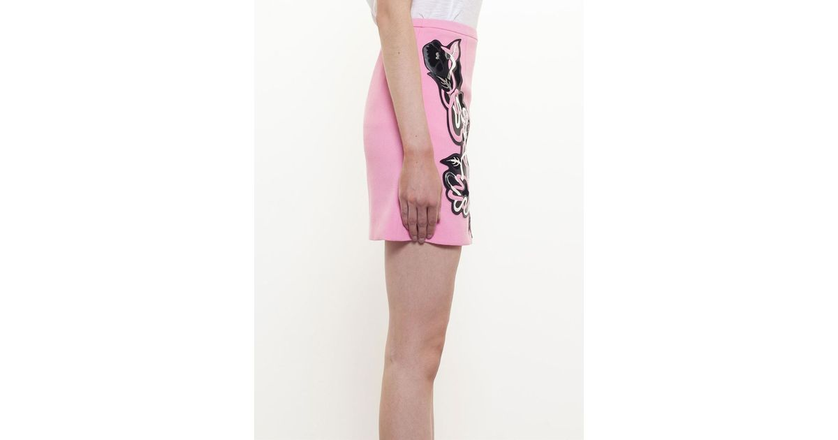 Lyst christopher kane floral applique mini skirt in pink