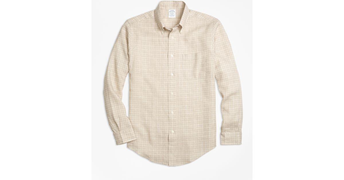 Brooks brothers regent fit check irish linen sport shirt for Irish linen dress shirts