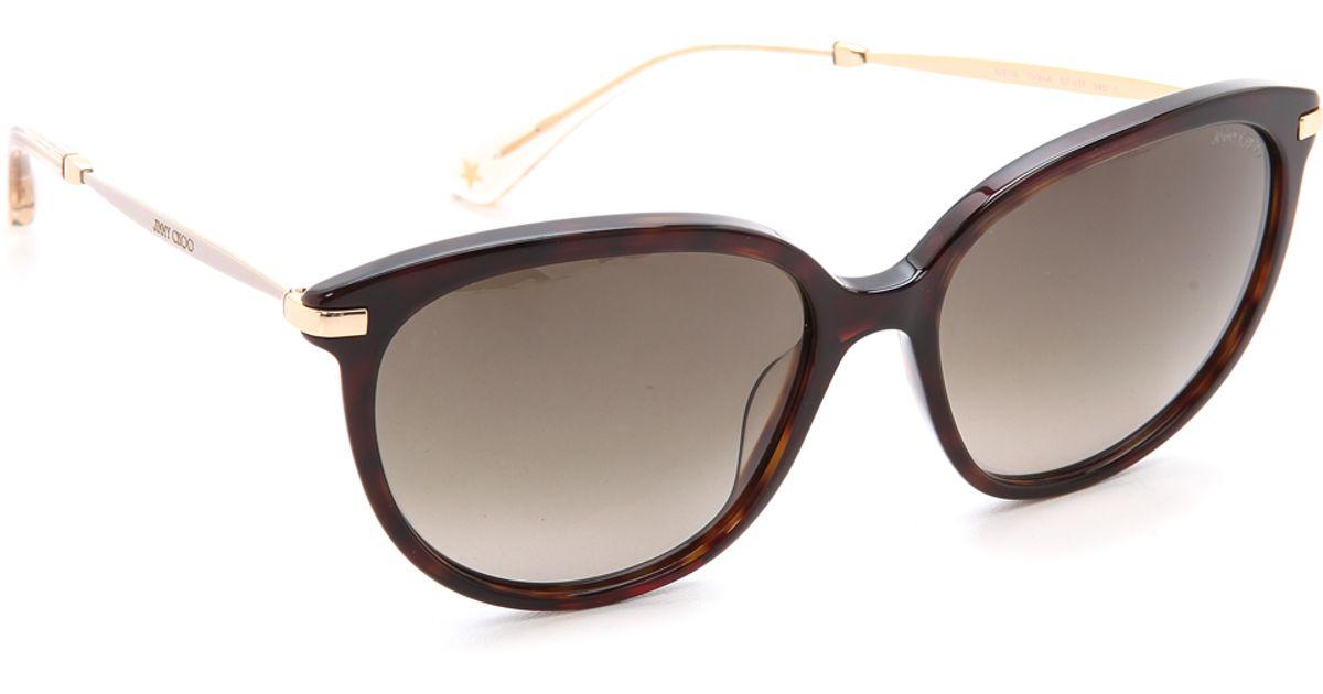 Jimmy Choo Mila Sunglasses  jimmy choo ives sunglasses blackgrey grant in metallic lyst