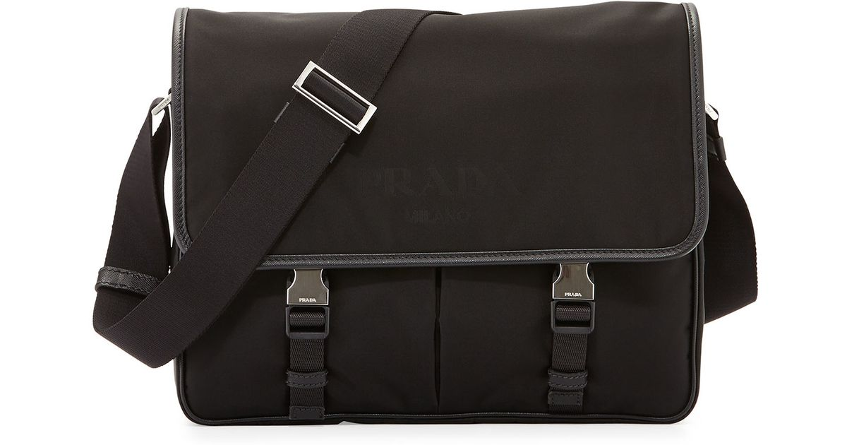 db4999e696e3 ... clearance lyst prada large nylon messenger bag in black 5b146 ab632