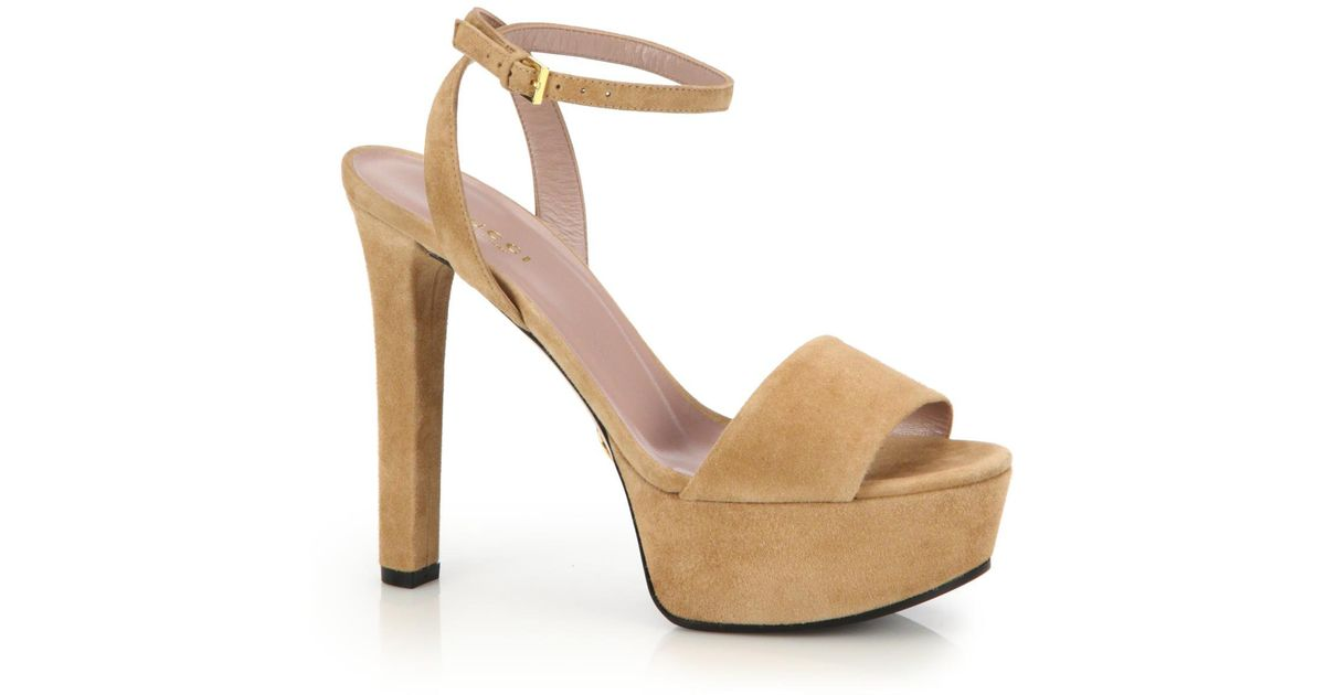 81f39fa87a6 Lyst - Gucci Leila Suede Platform Sandals in Natural