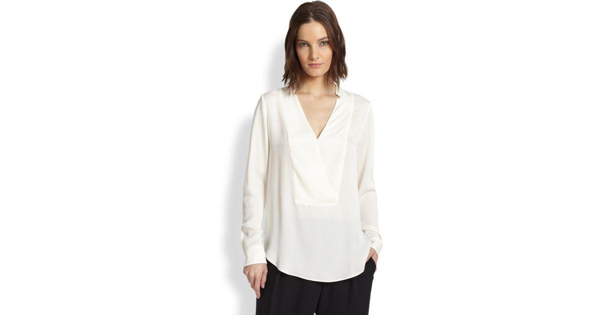 9a4febf5666cd Lyst - Theory Corbette Silk Double Georgette Blouse in White