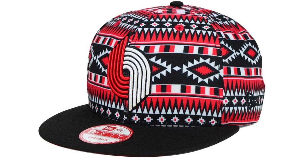 lowest price 6ff6b de20b official store lyst ktz portland trail blazers hwc tri all print 9fifty  snapback cap in black