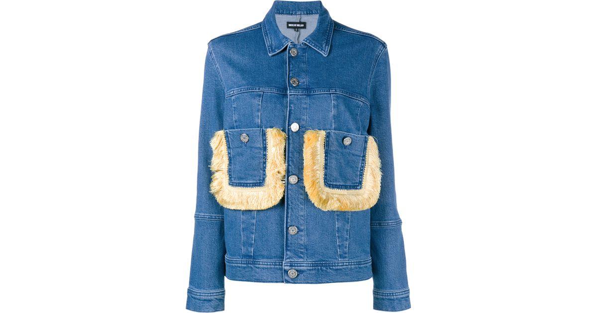 House Of Holland Fringe Pocket Denim Jacket In Blue Denim Save 50 Lyst