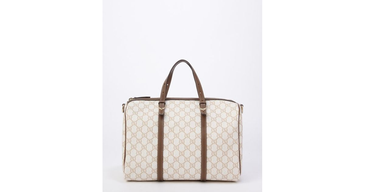 2ce98b00b053 Lyst - Gucci Pre-Owned: Ivory And Tan Gg Canvas 'Boston' Top Handle Bag in  White