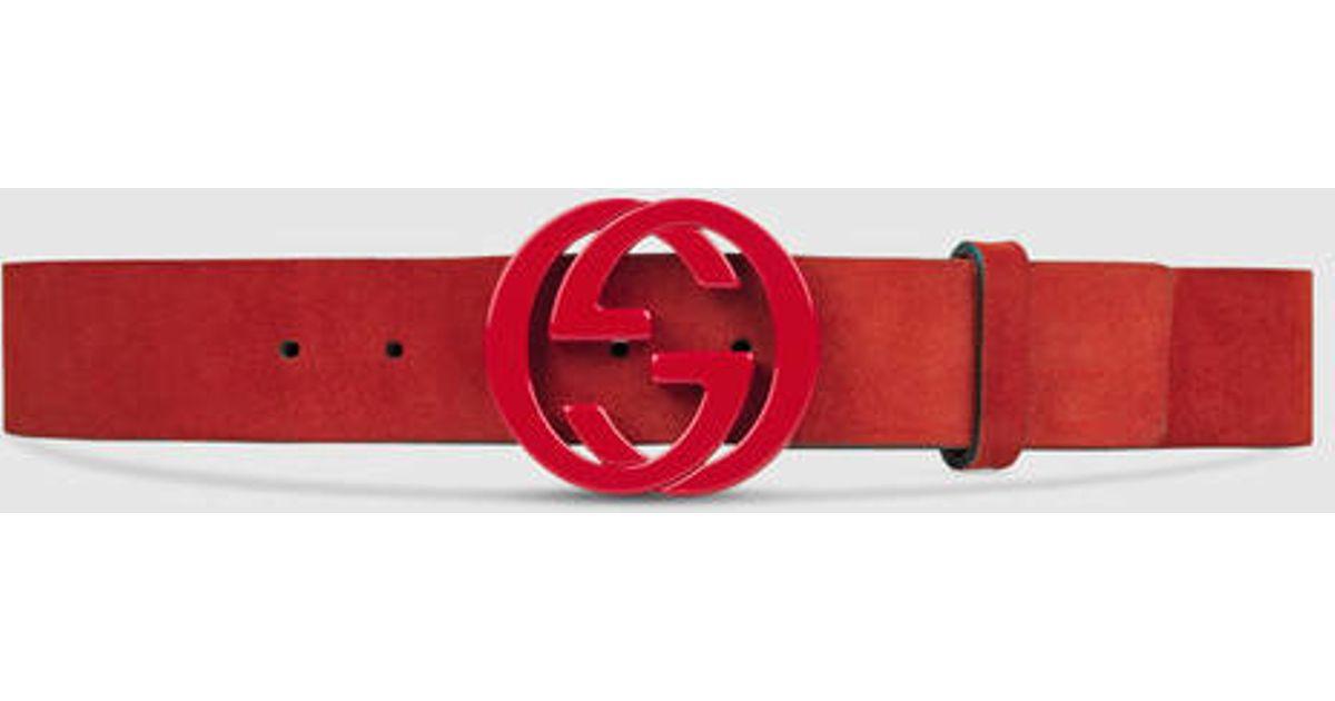 Lyst - Gucci Suede Belt With Interlocking G in Red
