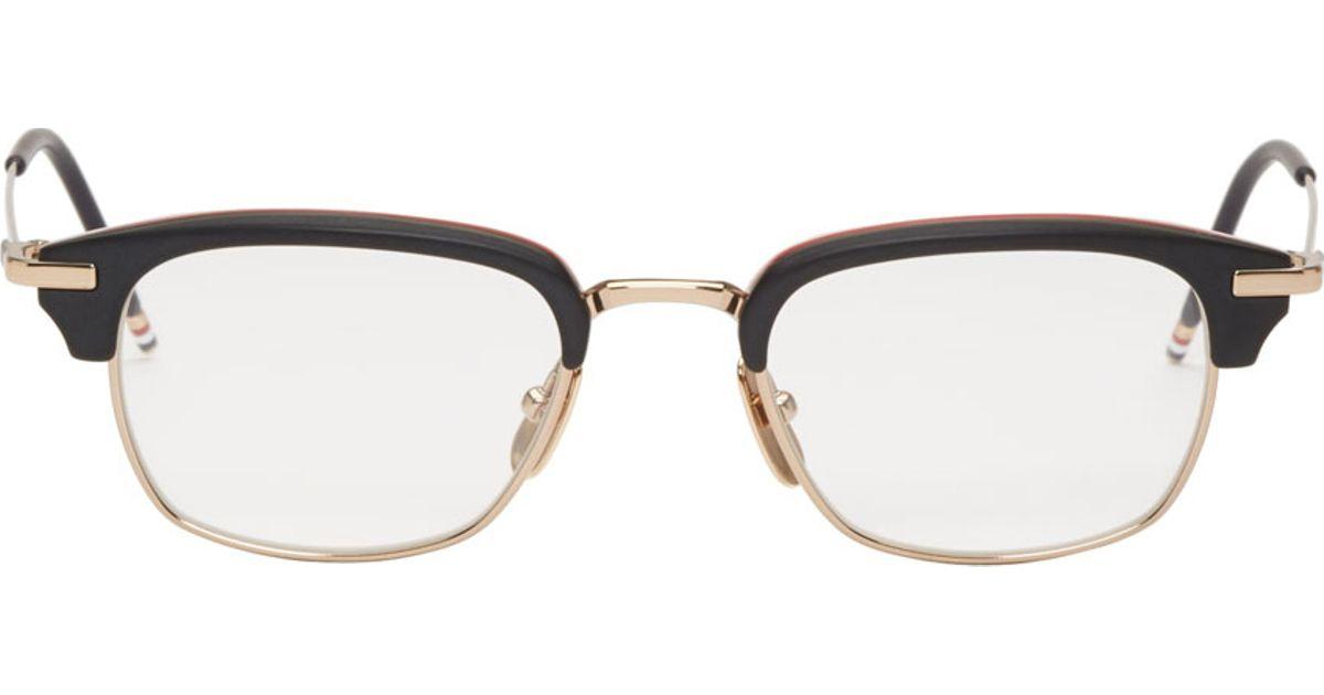 6ca849277f Lyst - Thom Browne Black Horn Rim Tb 707 Optical Glasses in Black for Men