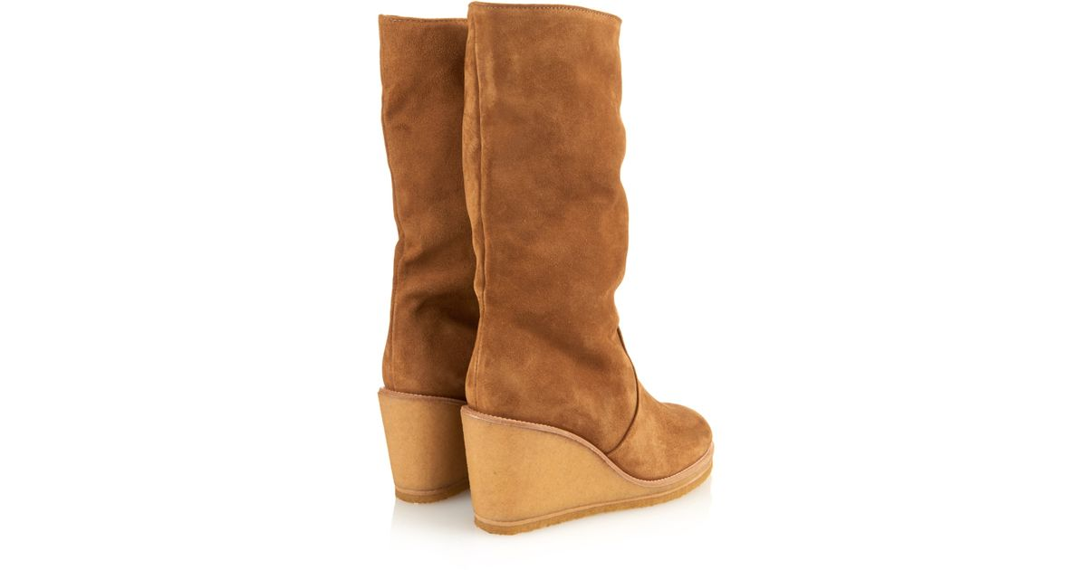 a p c clara suede wedge boots in brown lyst