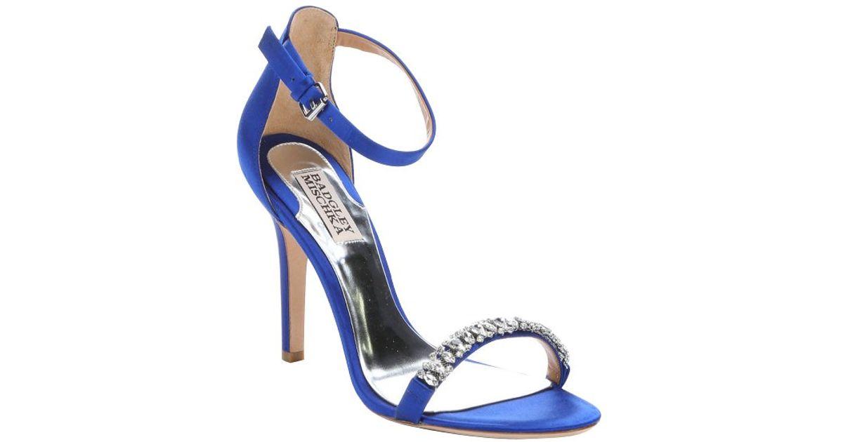 Lyst - Badgley Mischka Iris Satin 'elope' Crystal Embellished Ankle Strap  Sandals in Blue