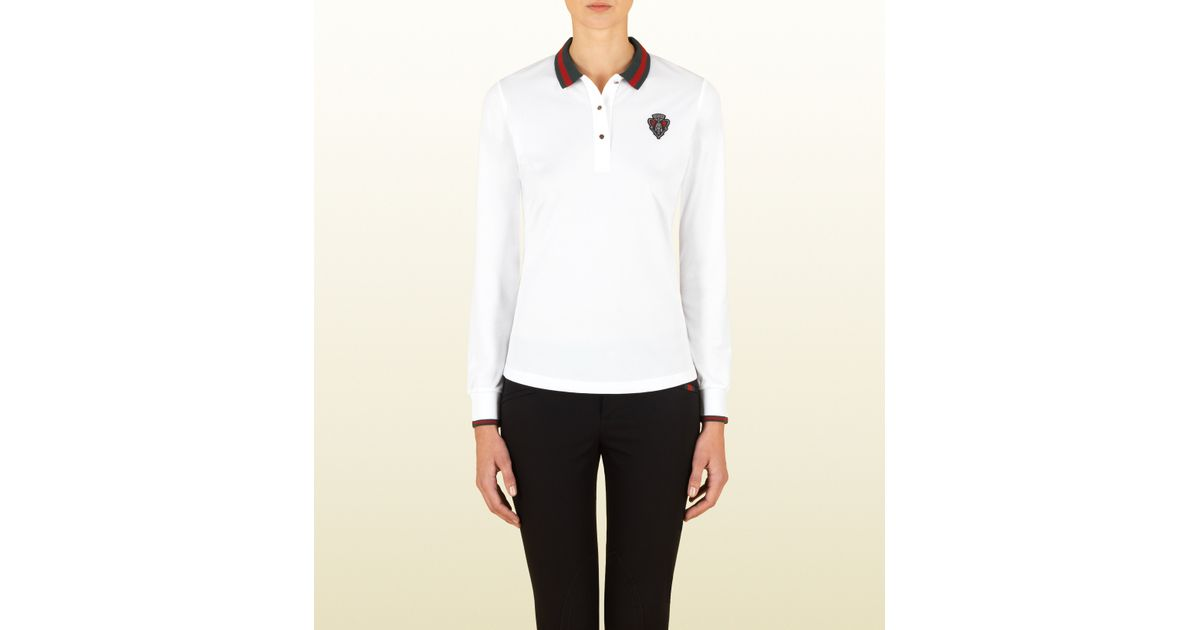 77a8deb60ec Lyst - Gucci White Long Sleeve Polo With Small Crest From Equestrian  Collection in White